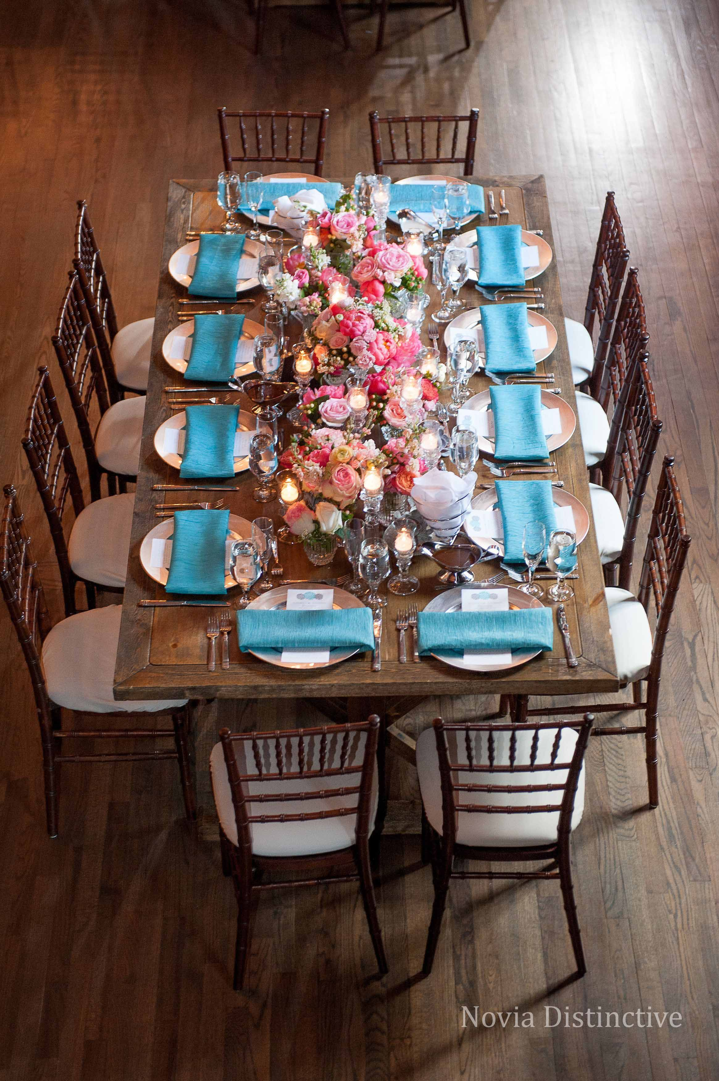 Gorgeous Farmhouse Table At High Line Car House In Columbus, Ohio. Flowers  By Flowers On Orchard Lane, Event Planning By Emilie Duncan Event Planning