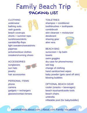 Free Printable Packing List For Family Beach Vacations  Vacation
