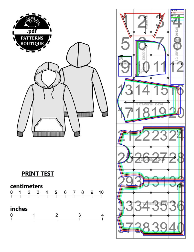 Hoodie Pdf Sewing Pattern For Men Sizes From Xs To Xl Etsy Printable Sewing Patterns Pdf Sewing Patterns Sewing Patterns