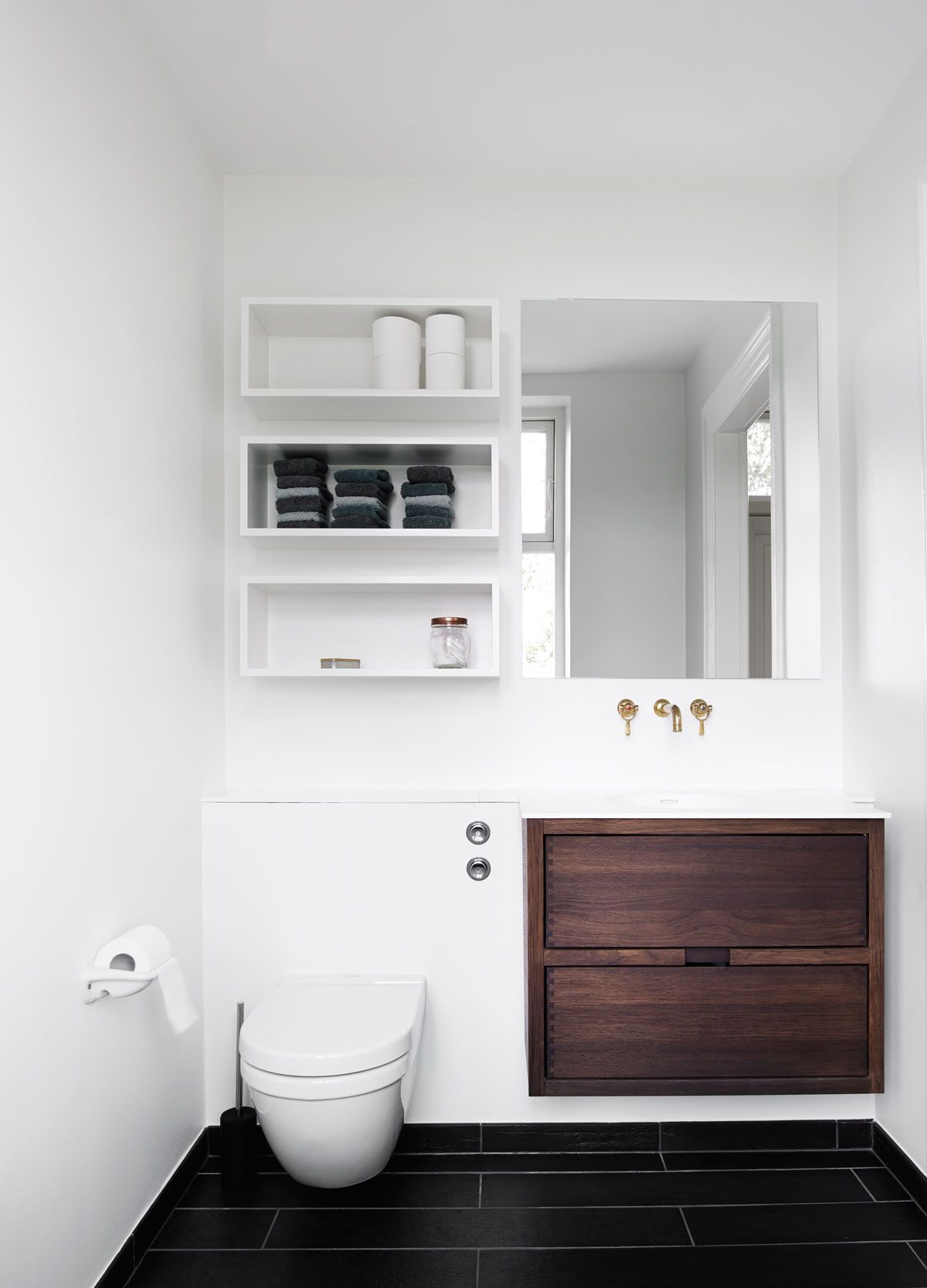 Small Bathroom Solutions Storage Shelves Above Toilet, Ledge Above Toilet,  Large Draws, Gold Plumbing, Add Storage Behind Mirror   YES!