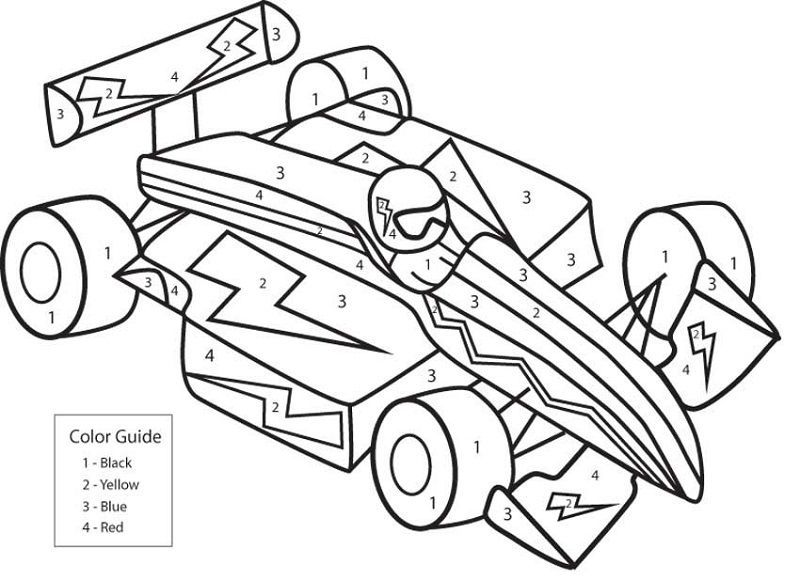 Printable Color By Number Pictures Race Car Coloring Pages Numbers For Kids Cars Coloring Pages