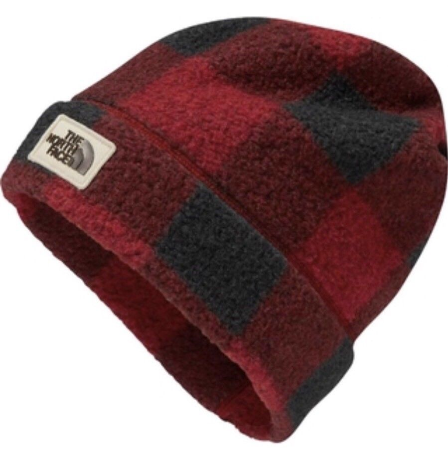 11a42923f The North Face Sherpa Fleece Beanie Hat Plaid Red Black NWT | My ...