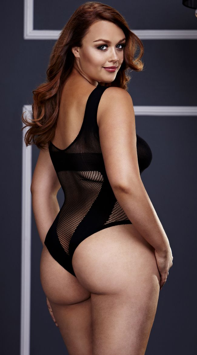 cd66419e98 Plus Size Fishnet V Teddy