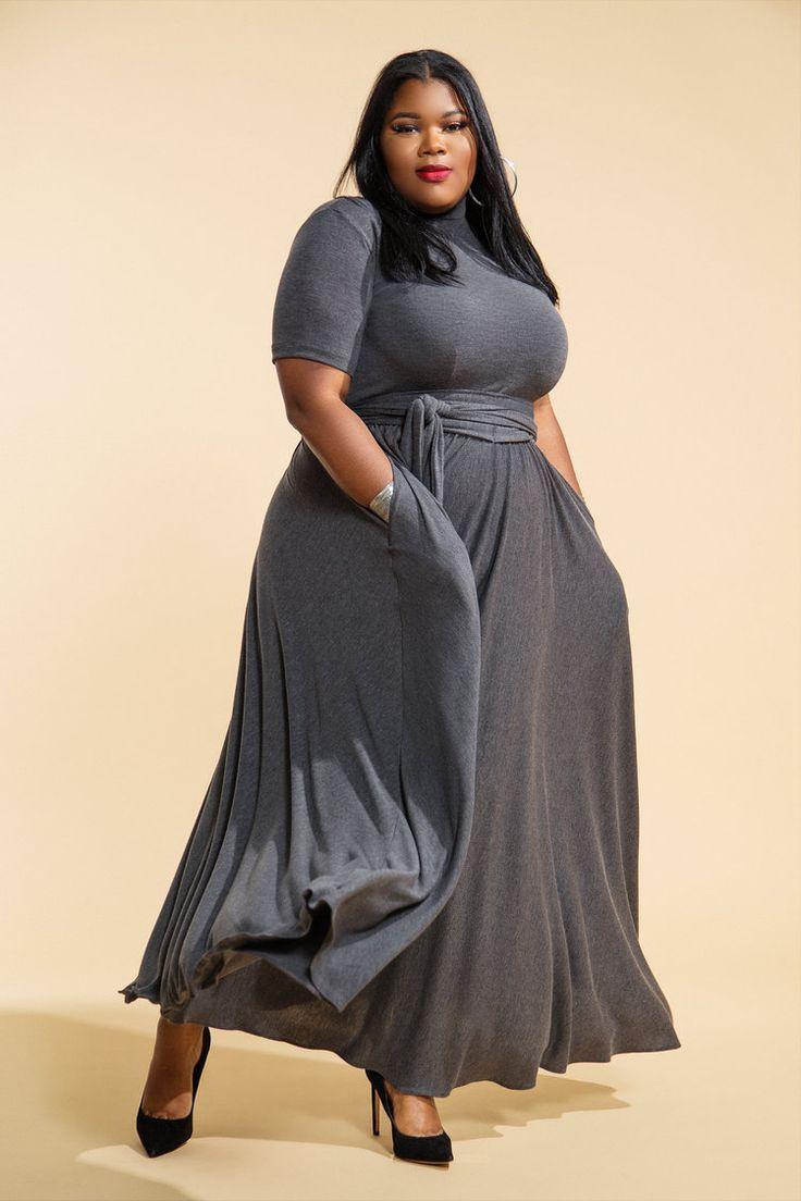 4505f3f8049 Mid Sleeved Mock Neck Flare Maxi Dress