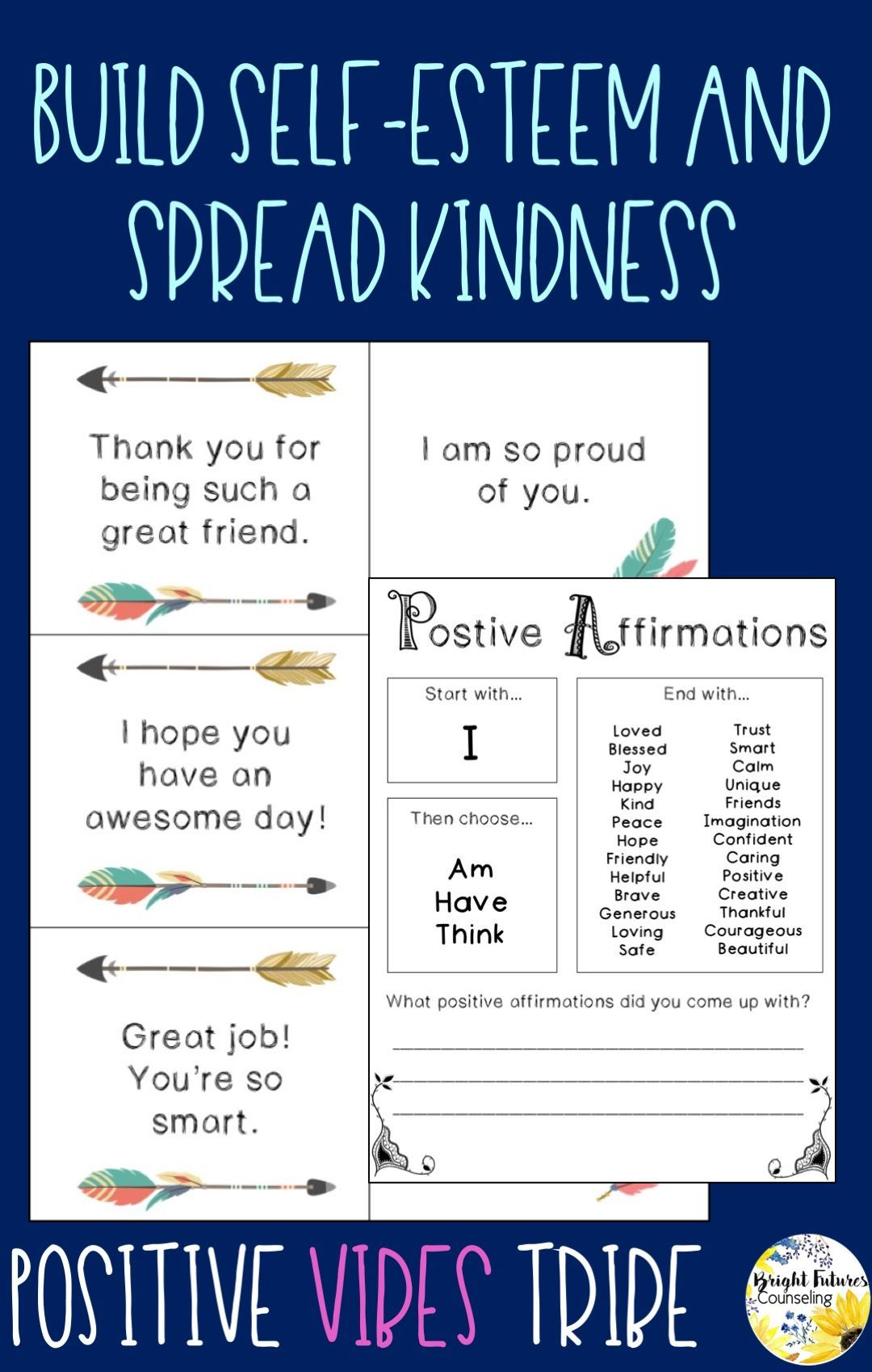 Self Esteem And Kindness Counseling Activity Pack Positive