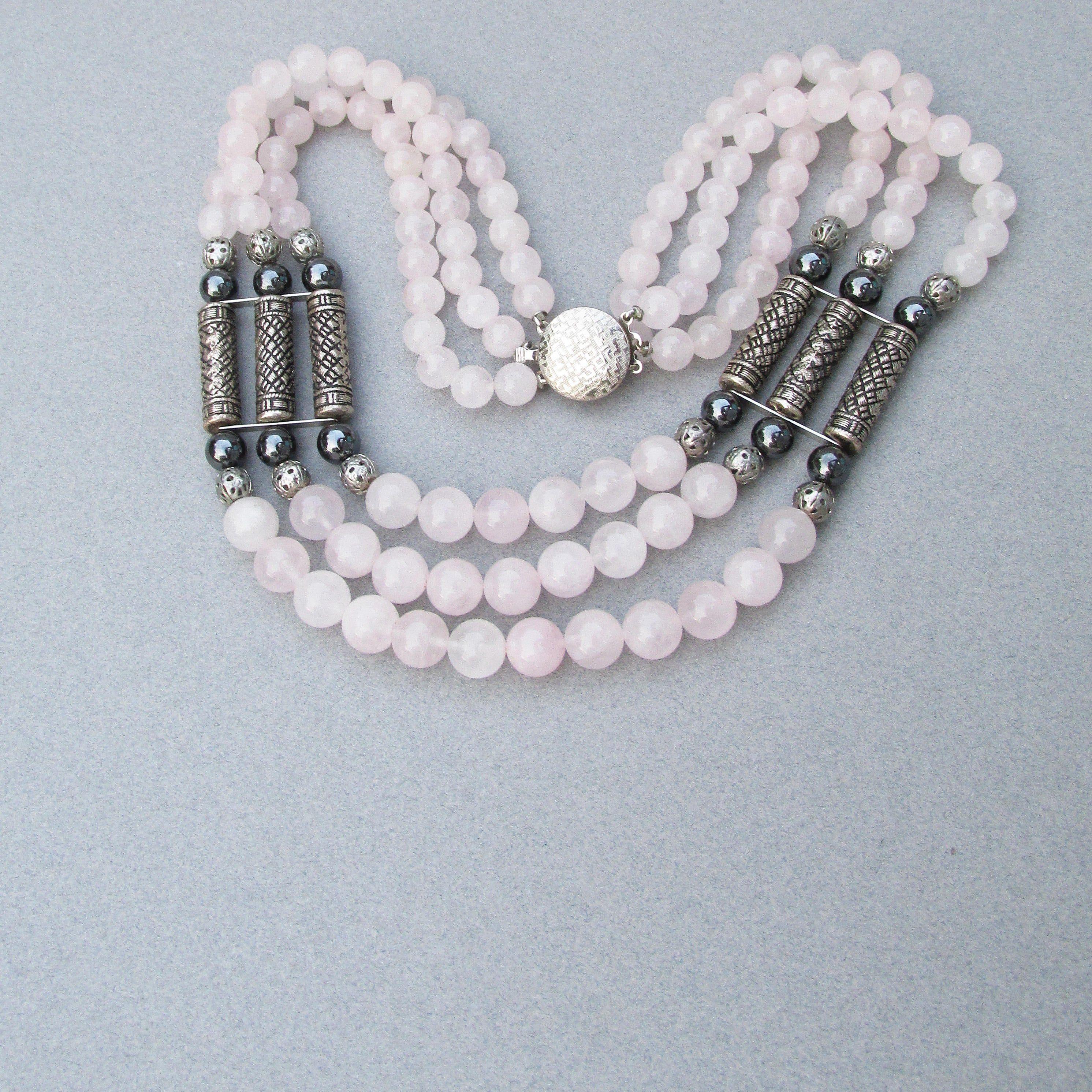 Rose Quartz and Pewter Necklace
