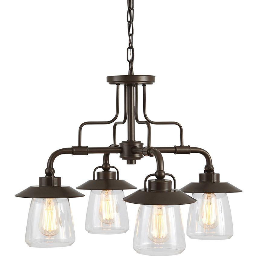 Allen  Roth Bristow 2402In 4Light Specialty Bronze Rustic Mesmerizing Lowes Dining Room Light Fixtures Design Inspiration