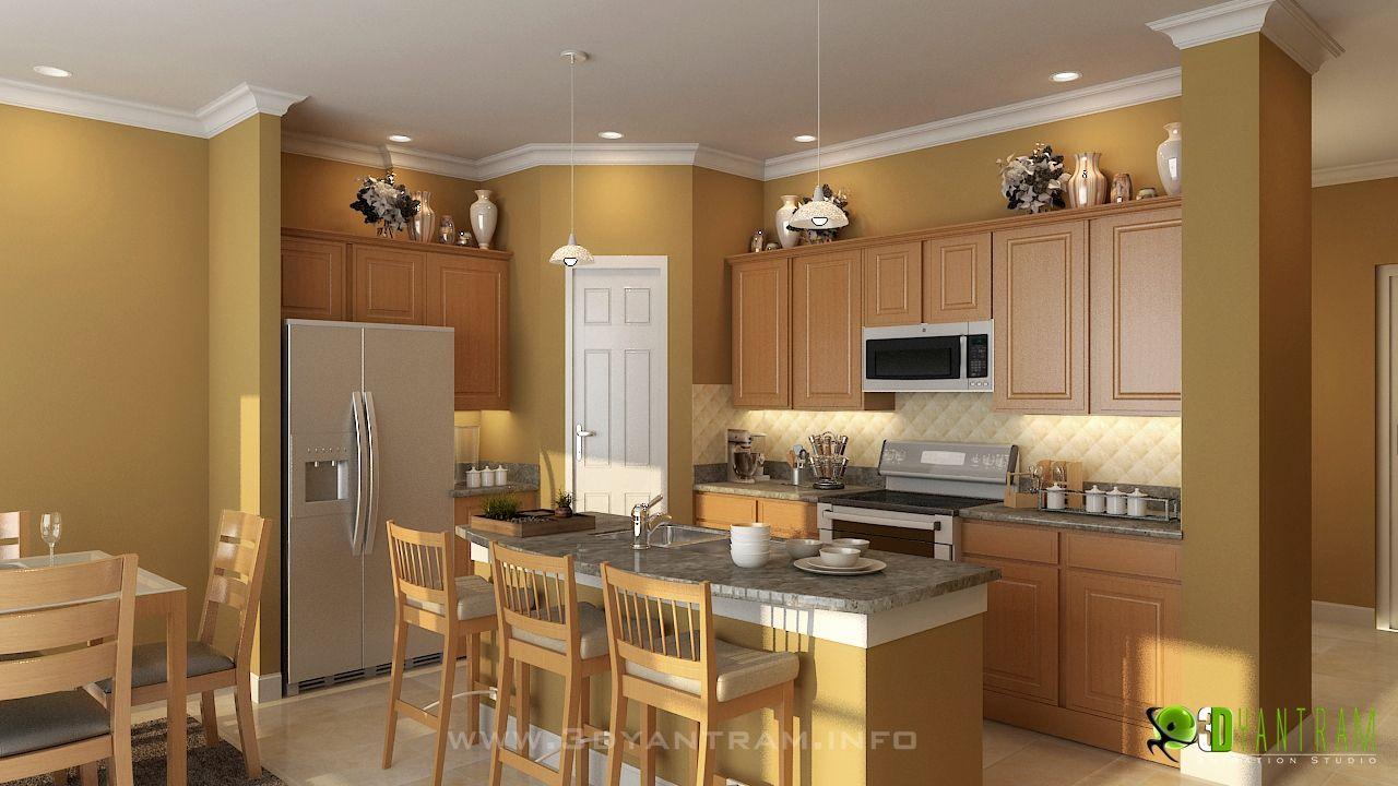 La última 3d interior rendering diseño de la cocina moderna | Diseño ...