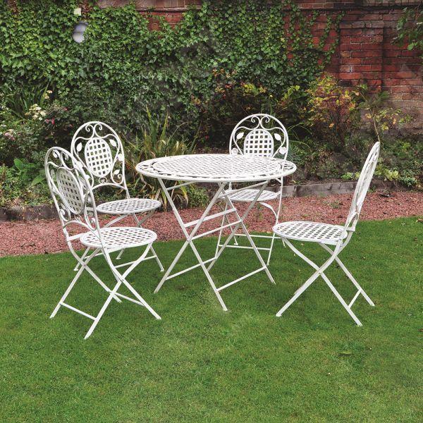 4 Seater Garden Dining Set Cream Metal Frame Round Table Patio