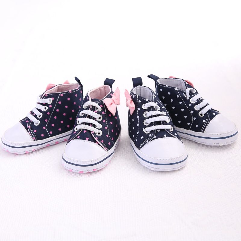First Walkers Fashion Dots Baby Girls Shoes Branded Bow Kids Toddler Sneakers Newborn Cotton First Walker Chaussures Girl Bebe Sapatos