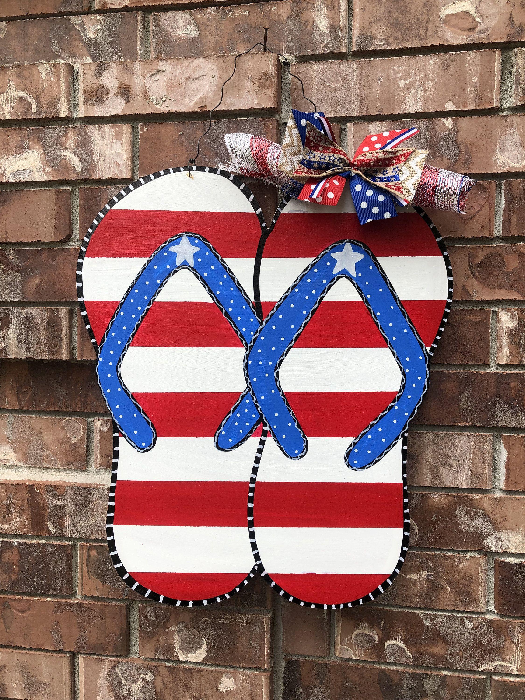 Flip Flop Door Hanger Patriotic Door Hanger 4th Of July Door Hanger Flip Flop Wreath Summer