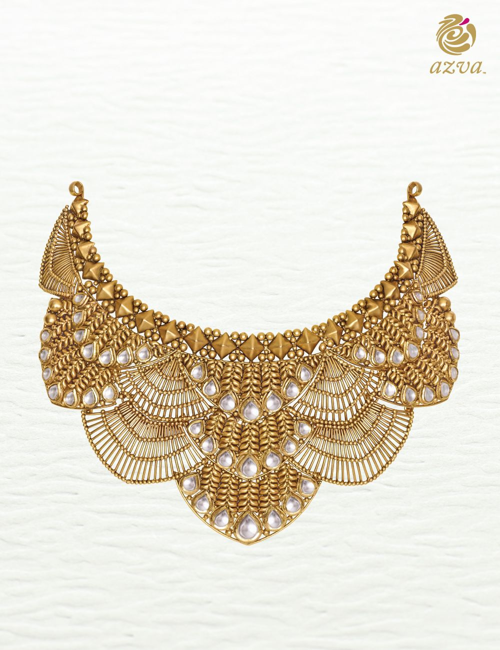 Azva gold necklace with intricate wire work and kundan Modern