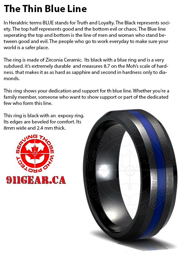 Thin Blue Line Ring Paracord Rings