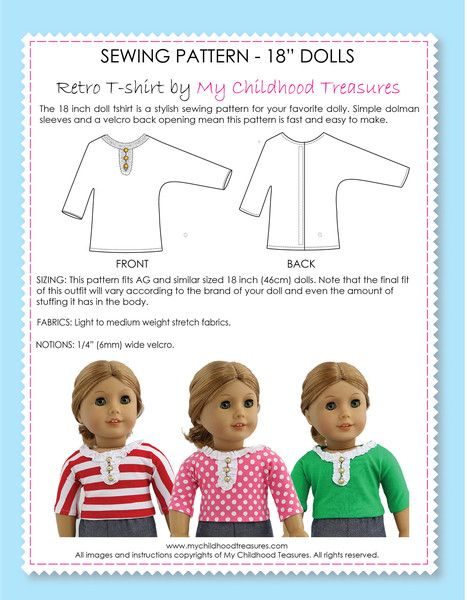 FREE 18 inch doll T-shirt Pattern at www.mychildhoodtreasures.com ...