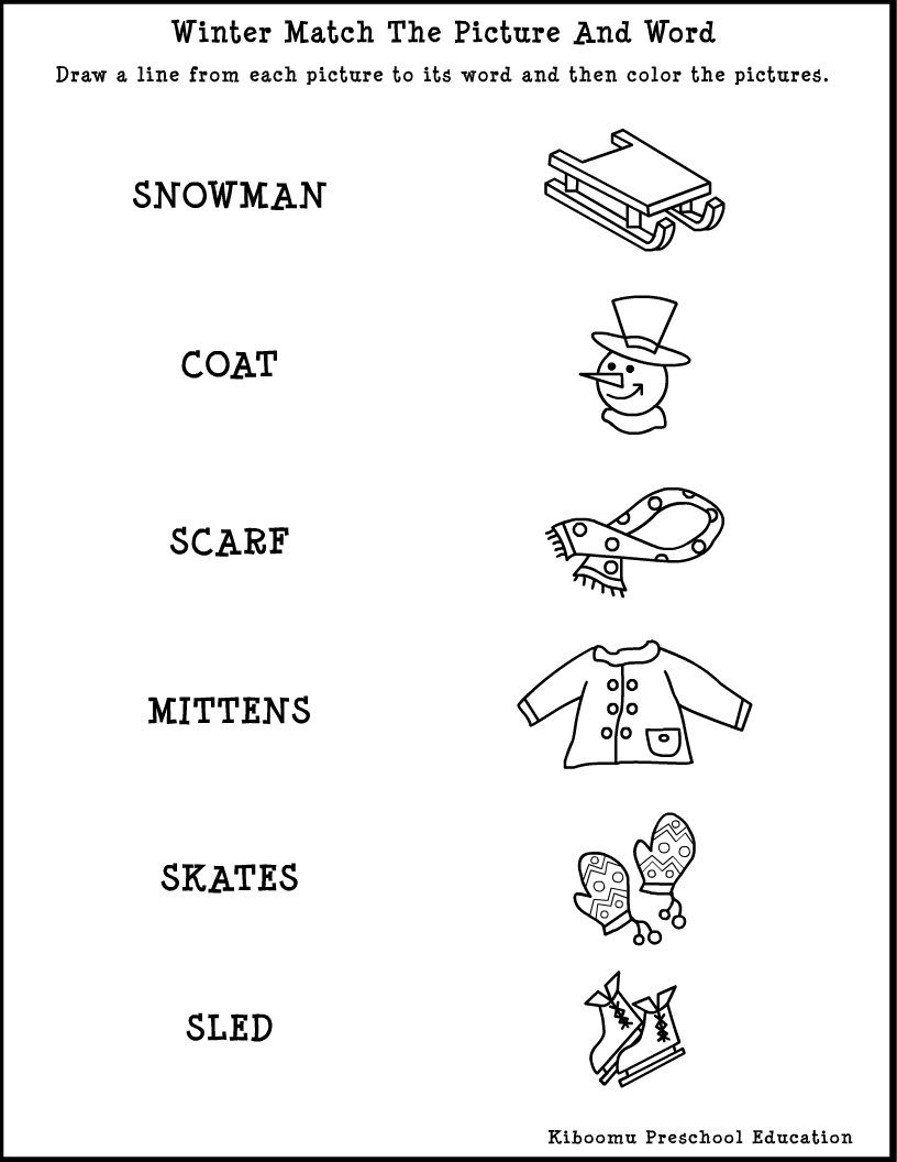 Winter Song and Free Printable Reading Worksheet for Winter – Kindergarten Vocabulary Worksheets