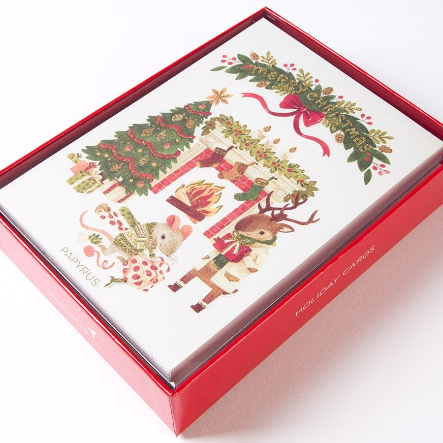 Woodland Animals Opening Gifts Boxed Holiday Cards (Set of 14 ...