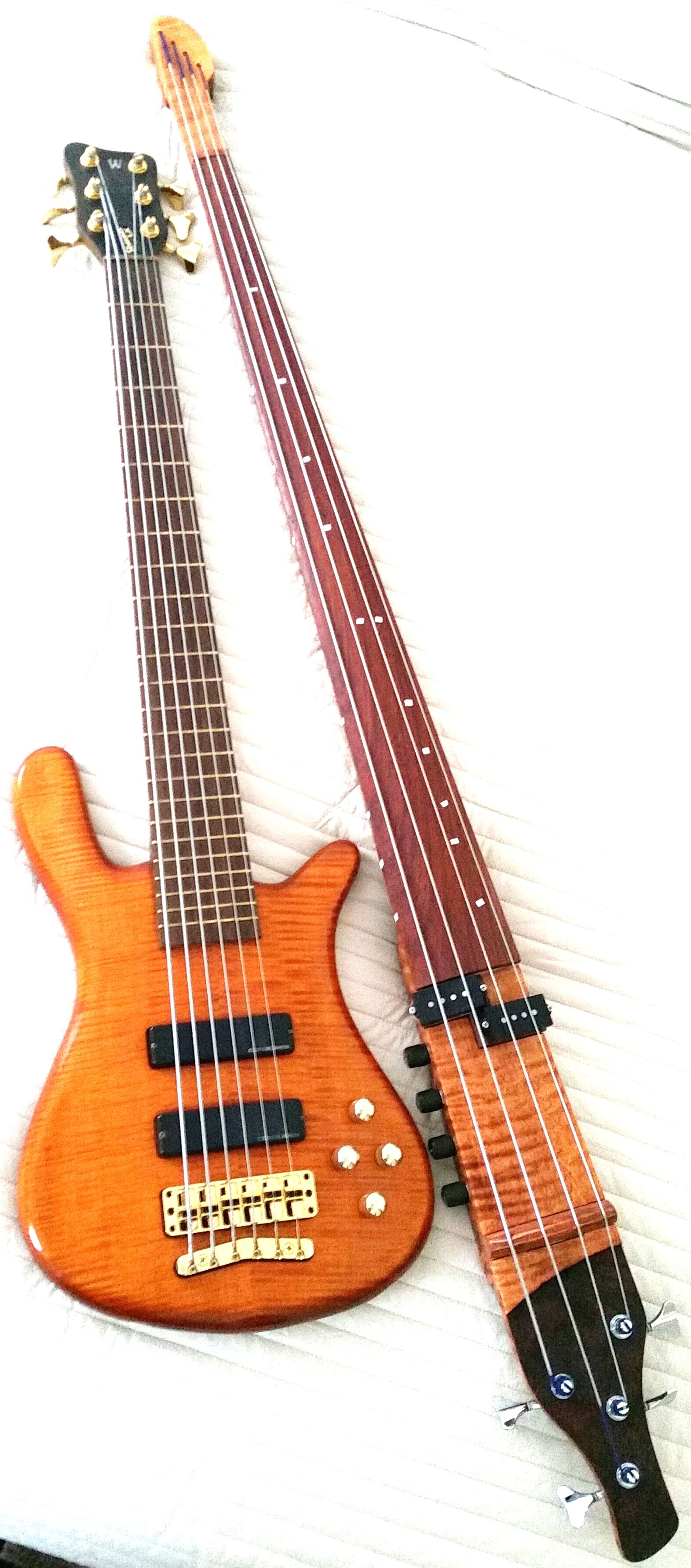 My Basses: My Warwick 6 and My custom Electric Upright