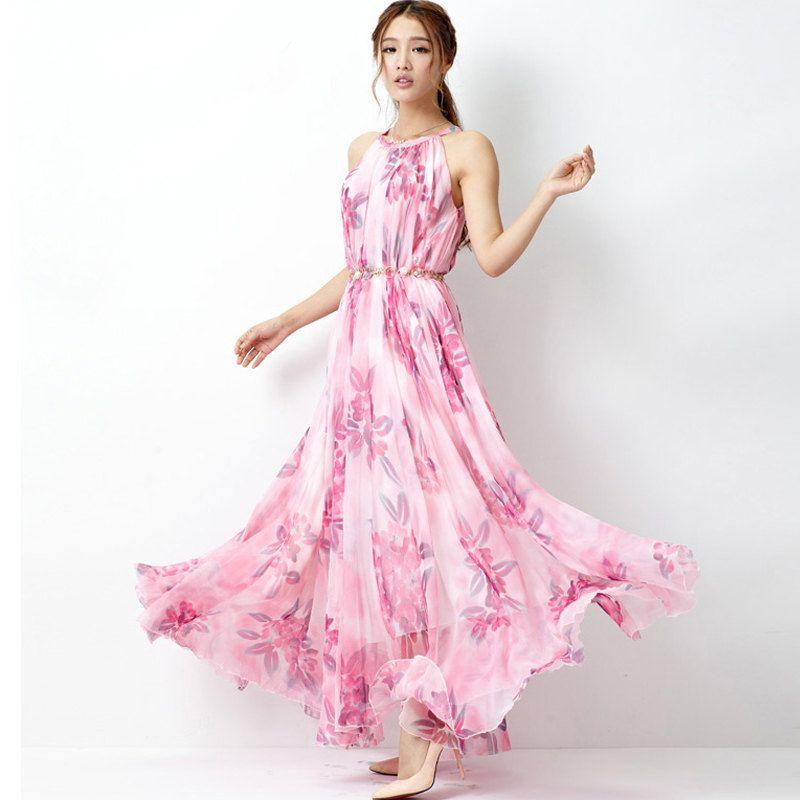 Baby Pink Floral Long Beach Maxi Dress Lightweight by LYDRESS, $58.00