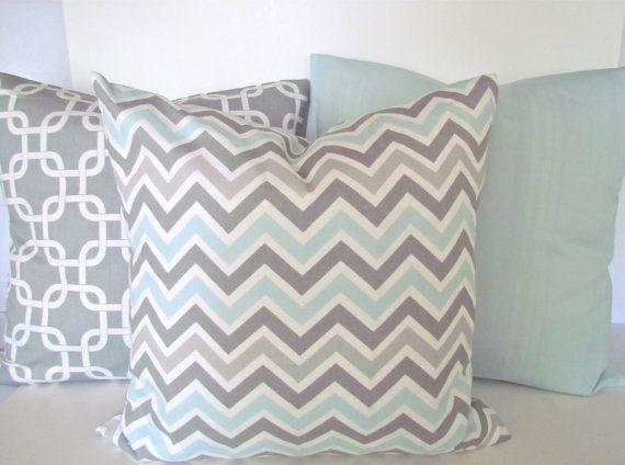 Gray Bed Throw Pillows : Chevron throw pillow covers grey light blue