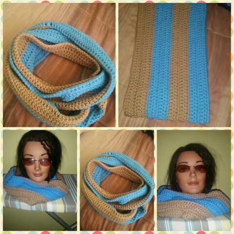 CROCHETED Double Wrapped Infinity Made by me using DC Stitch. For Sale  #crochetinfinityscarf