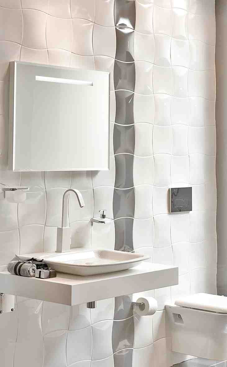Like the ripple tiles with the wall hung vanity basin. #Decorative ...