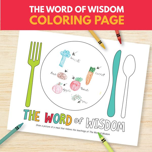 the word of wisdom coloring page primary 3 lesson 14 - Coloring Pages Primary Lessons