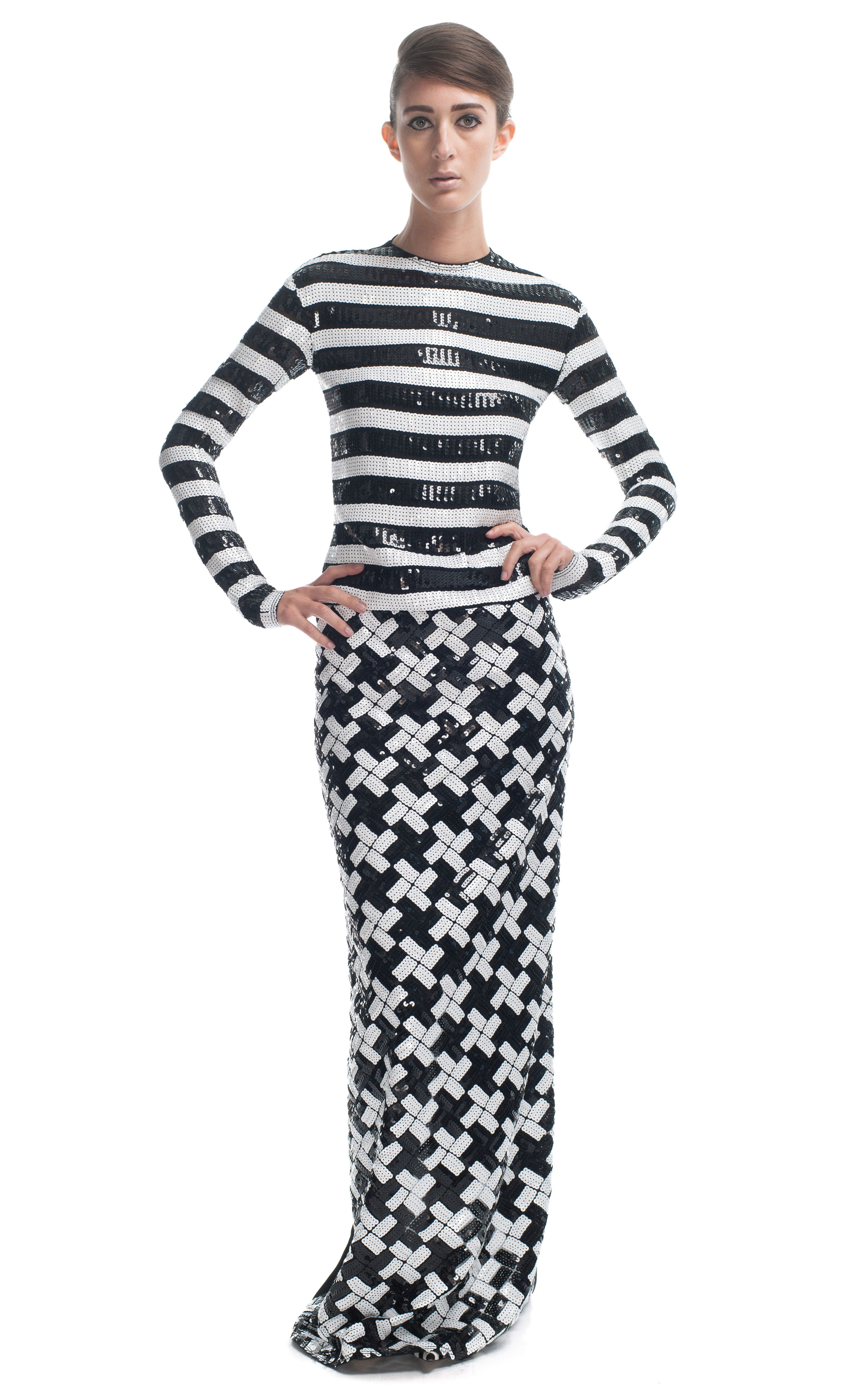 Marc Jacobs Large Stripe Sequin Georgette Gown at Moda Operandi