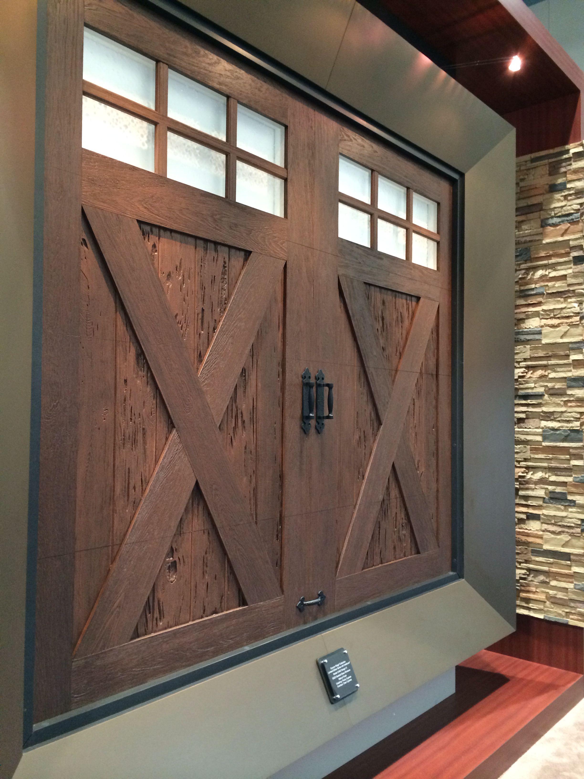 Garage door windows that open  Clopay Canyon Ridge Collection faux wood carriage style garage door