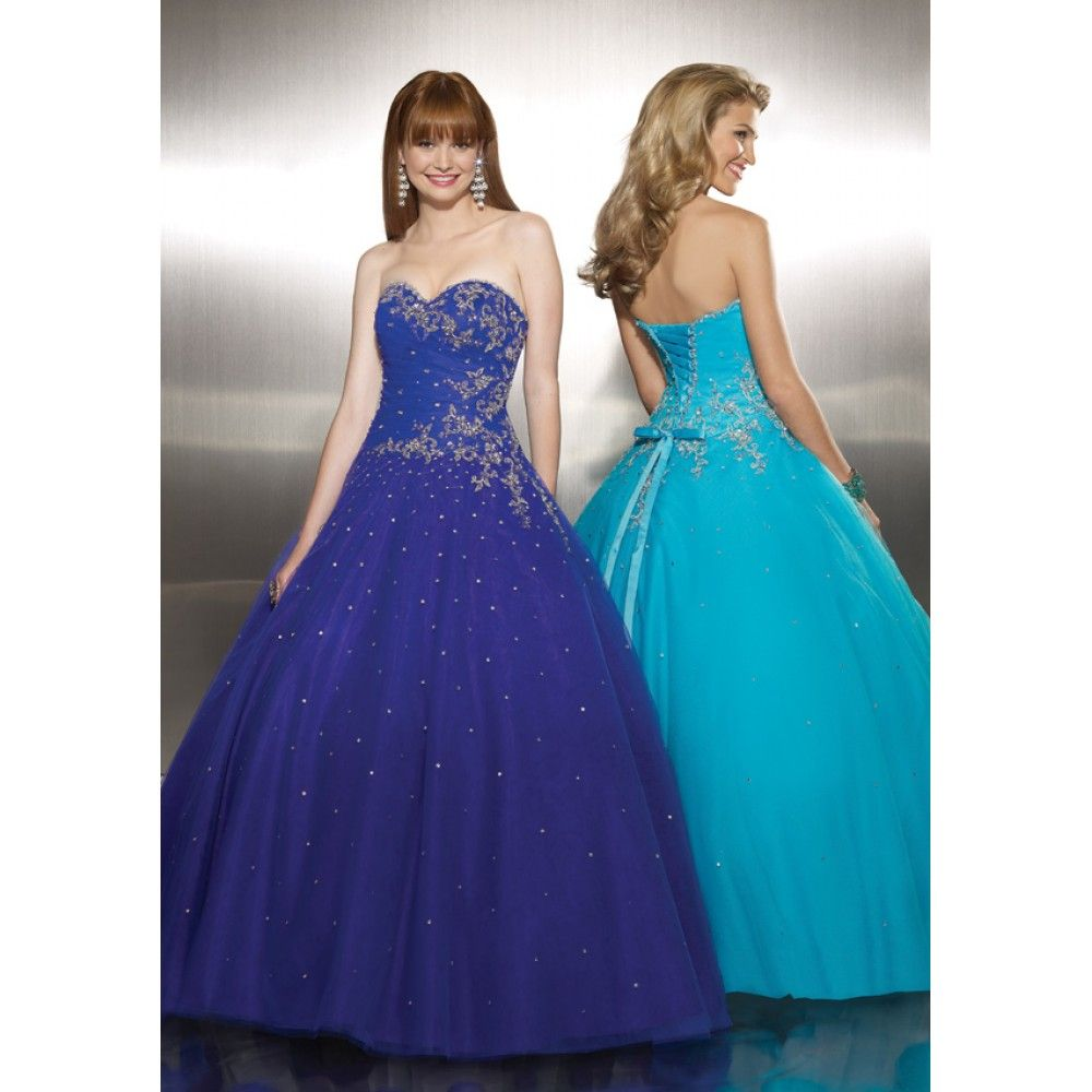 Mori Lee 8757 (Color in stock: Aqua - gown on right ...