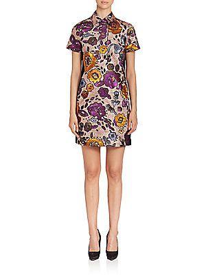 Burberry Metallic Floral Jacquard Shirtdress