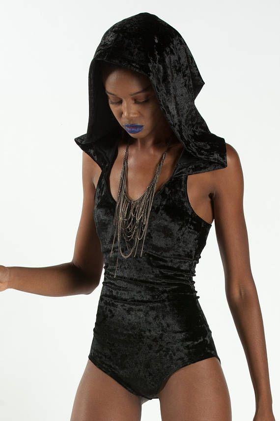 6e98c5053e OBSIDIAN BODYSUIT - Black Velvet Hood Ninja Hooded Romper Dancewear Goth  Jumper Festival Burning Man