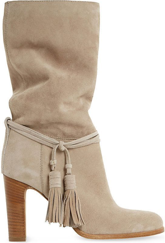 Shop for Dune Black Ryleigh tasseled suede calf boots at ShopStyle.