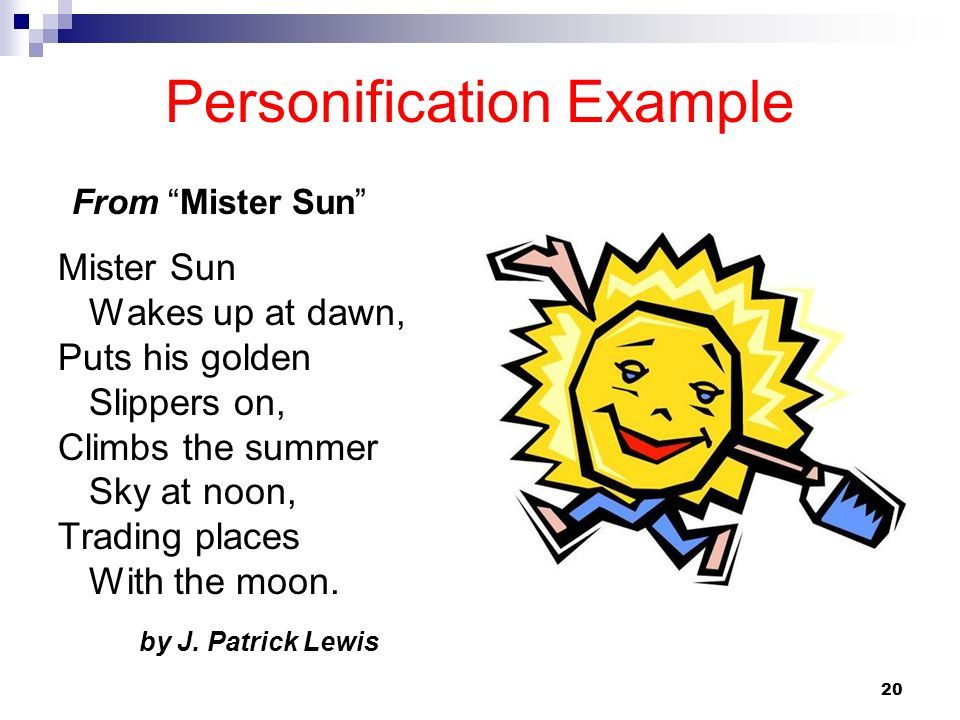 Personification Example From Mr Sun Figurative Language