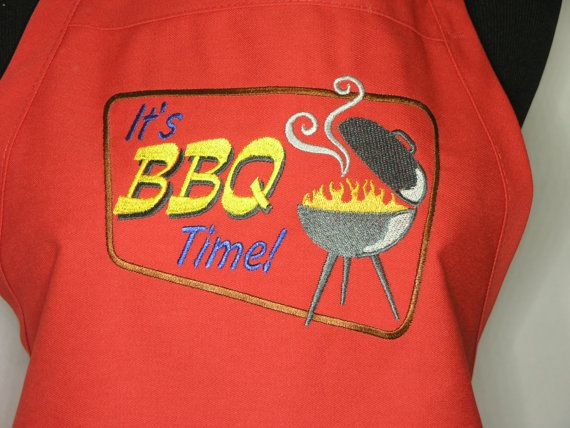 It's BBQ Time  Embroidered Red Chef's Apron by MyRedHairedAuntie, $25.00