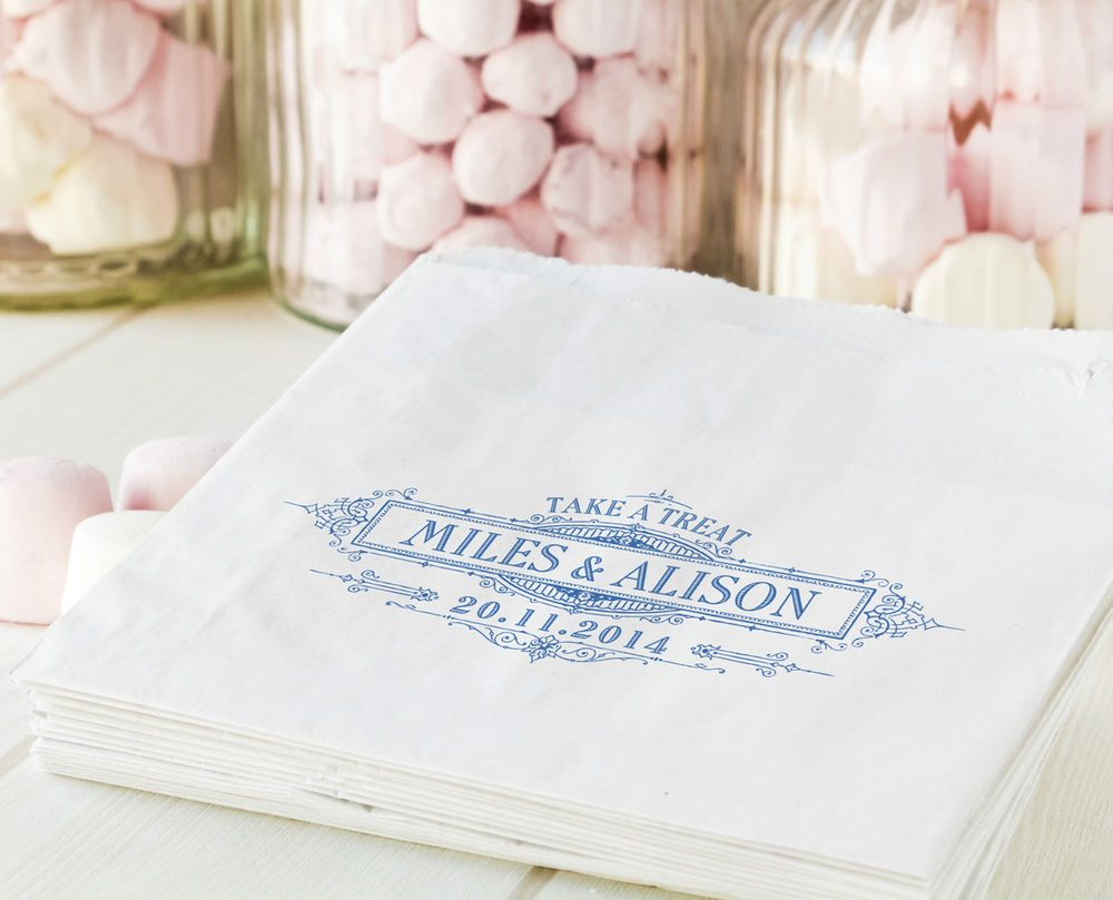 Personalised sweet bags wedding engagement favour candy cart