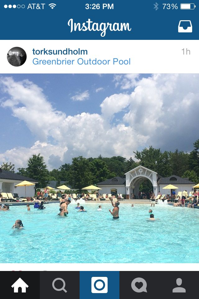 The Greenbrier pool and scenery.