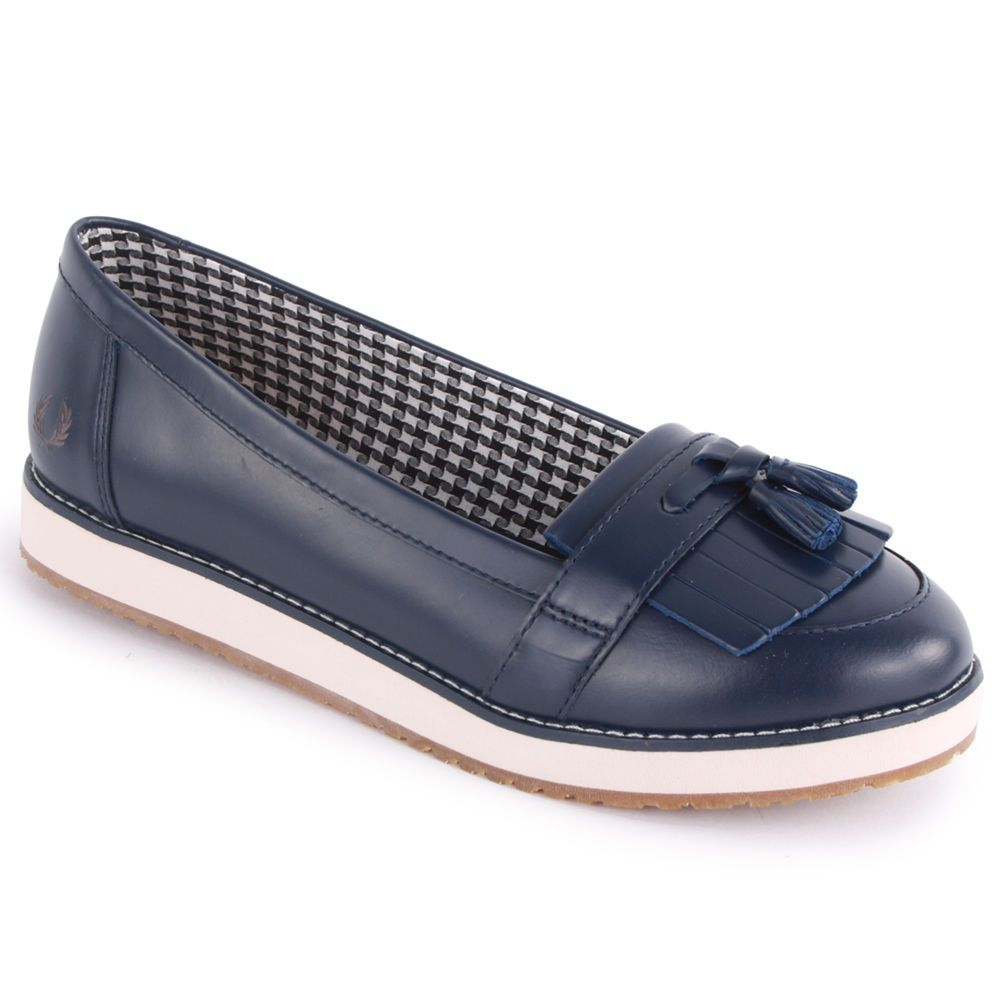 Fred Perry B4194w Womens Alma Loafer Slip On Leather Navy Shoes Size 3.5,4,