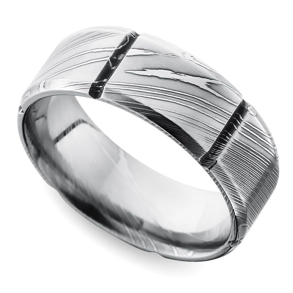 Segmented Men S Wedding Ring In Damascus Steel Damascus Steel Ring Damascus Wedding Band Steel Wedding Bands
