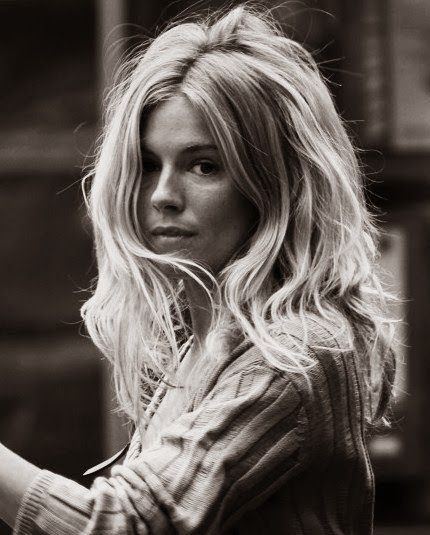 sienna miller // black and white photograph // blonde hair ...