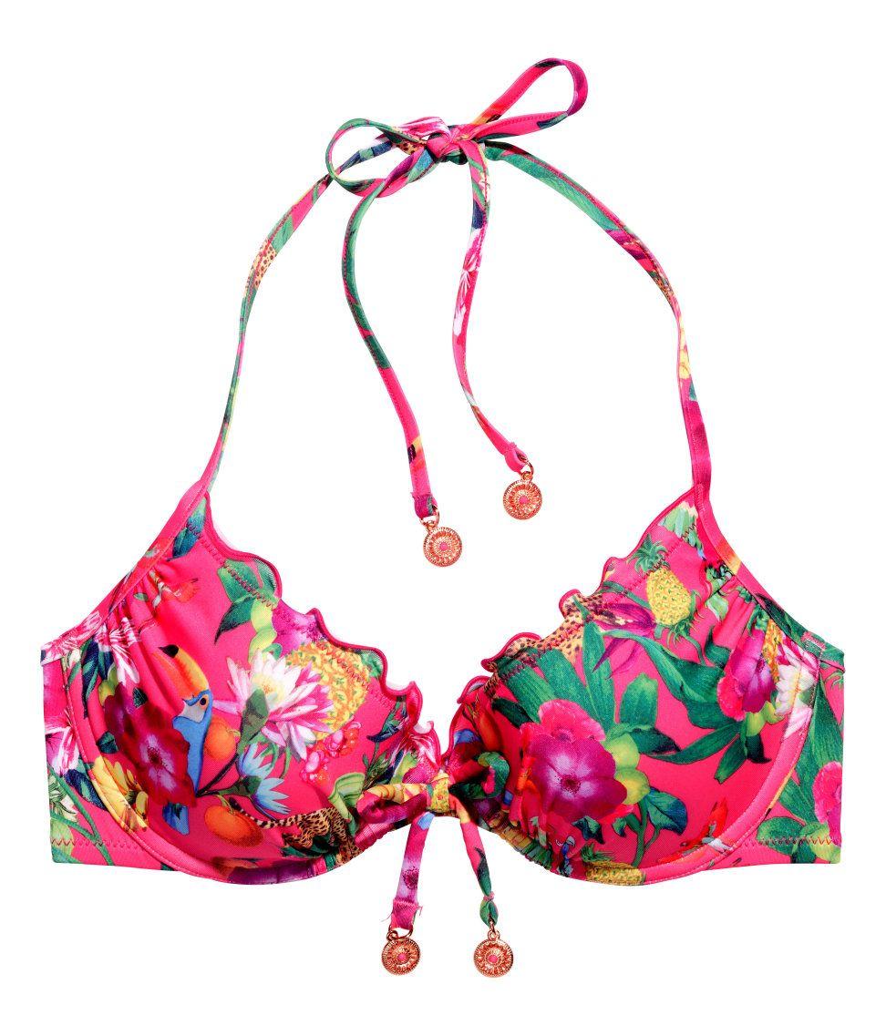8a59e214d45d Hot pink ruffled bikini with decorative bow