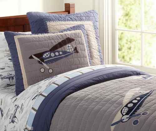 Pottery Barn Kids Taking Flight Airplane Twin Quilt Sham Sheets Set 5 Pcs New Twin