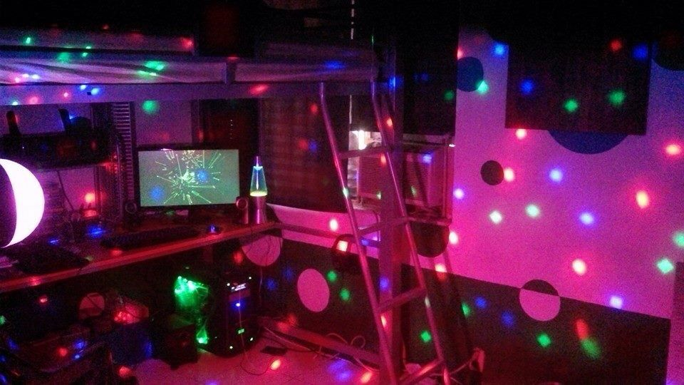 Yes I Have Strobe Lights In My Room Why Not It Changes With The Music Too Love The Functionality Of A Good Loft Bed Party Lights Strobe Lights Room Lights