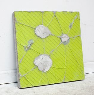 Davina Semo, 'The sight of her looking sad frightened him badly', 2012, reinforced concrete, safety glass, enamel paint, 46.4 x 46.4 x 3.8 cm