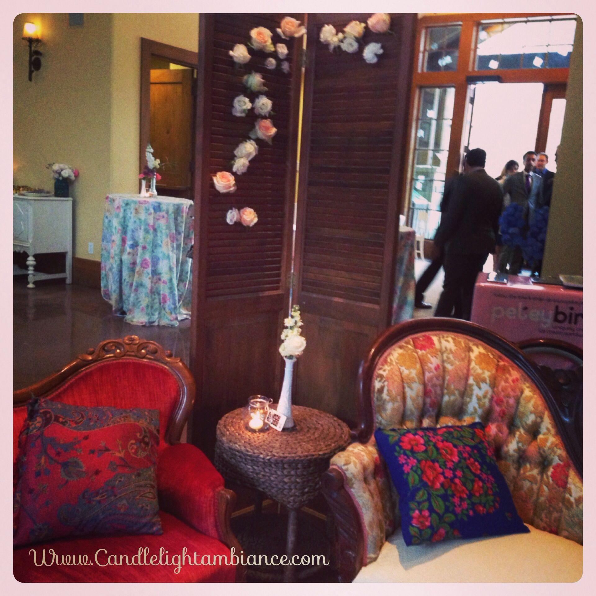 Wedding decor images  Elegant shabby chic wedding decor thedonovanvail  Candlelight