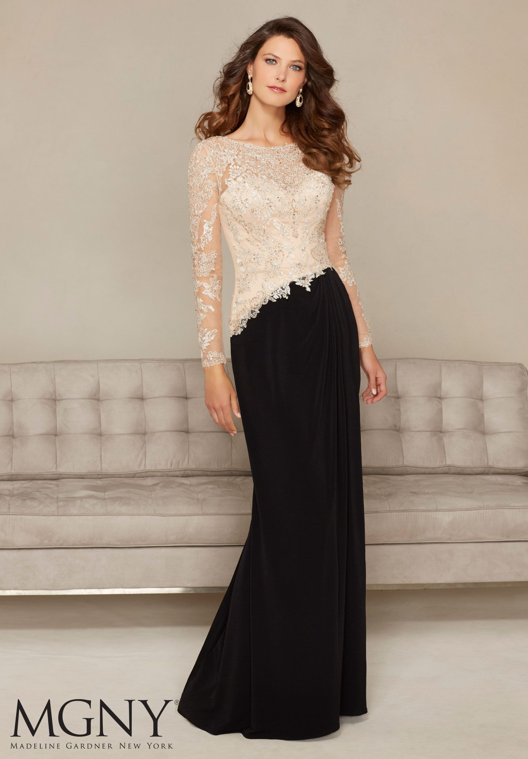 Jersey Dress with Beaded Embroidery on Net Evening Dress | dresses ...