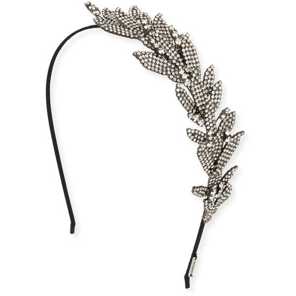 Jennifer Behr Arielle Crystal Leaf Headband ($1,250) ❤ liked on Polyvore featuring accessories, hair accessories, swarovski crystal headband, wrap headbands, jennifer behr headband, jennifer behr and hair band accessories