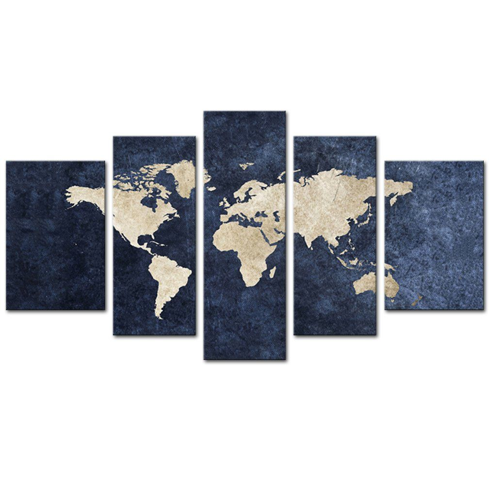 Canvas painting abstract world map picture printed on canvas giclee