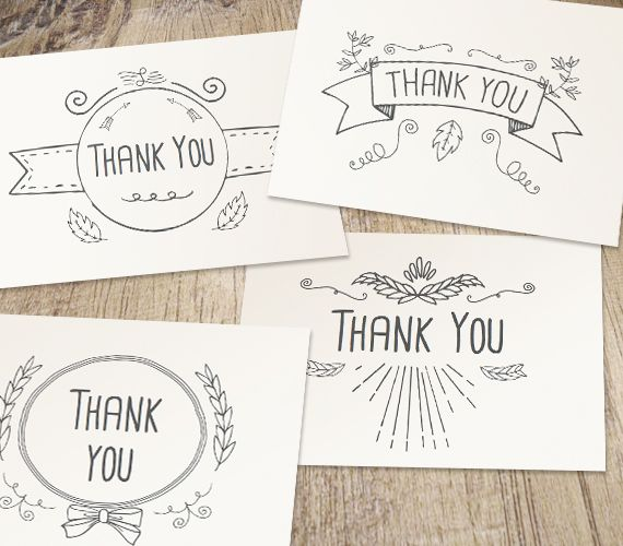 Hand Drawn Printable Thank You Cards Work Your Art Gift Ideas - printable thank you note