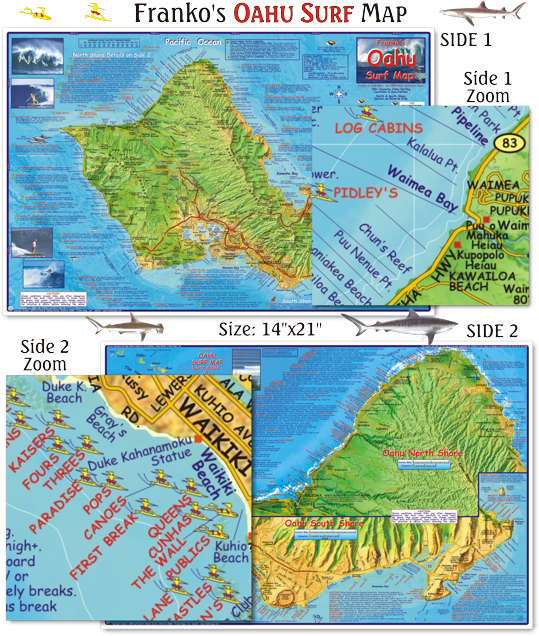 Oahu surf map beautiful detailed map and guide to all for Fishing spots oahu