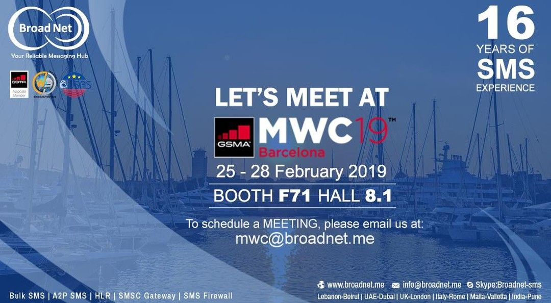 Countdown 2 Weeks Left Let S Meet At Mwc 19 Https Www Broadnet Me Monday Mwc19 Mwc Mwcbarcelona Sms In 2020 Sms Marketing Sms Web Application Development